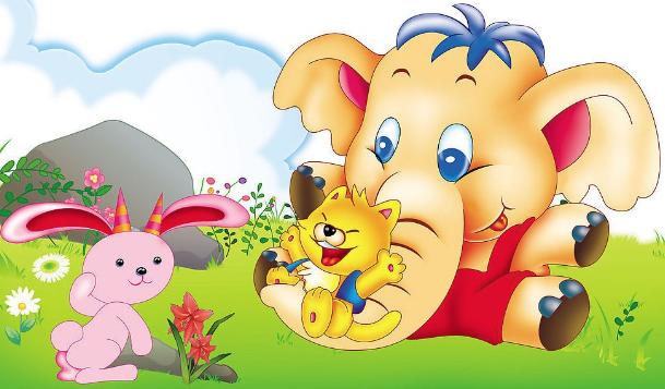 有关大象的看图写话图片_看图写话:大象真能干